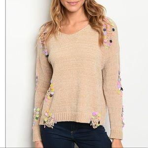 Beige crewneck chenille knit sweater w/sequins